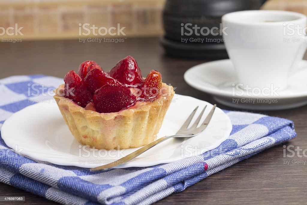 Strawberry Dessert with Cup of Coffee royalty-free stock photo