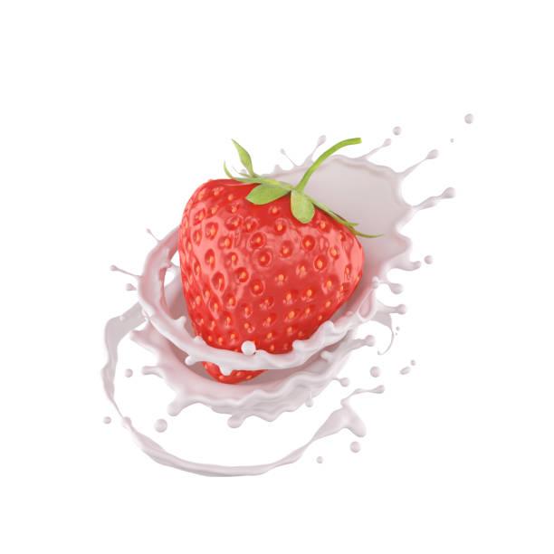 strawberry falling into milk splash. - icon set healthy foto e immagini stock