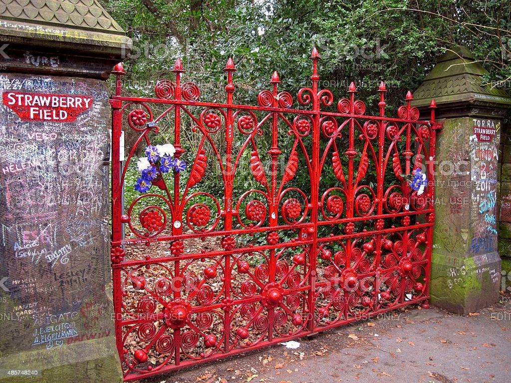 Strawberry Field gates Beatles landmark in Liverpool stock photo