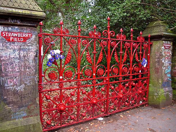 Strawberry Field gates Beatles landmark in Liverpool stock photo