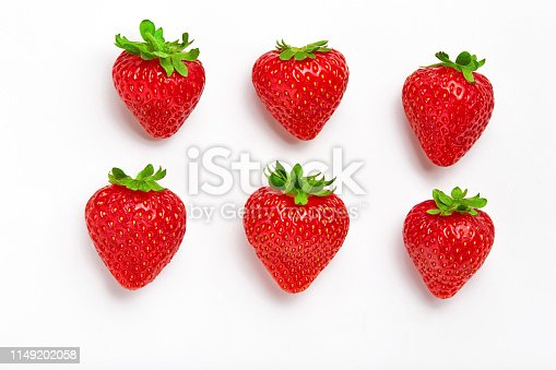 Strawberry. Fresh natural strawberry isolated on white background. Strawberry of different shapes