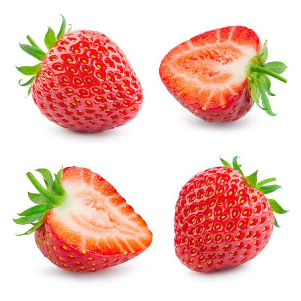 strawberry. fresh ripe berry isolated on white background. collection. - strawberry imagens e fotografias de stock