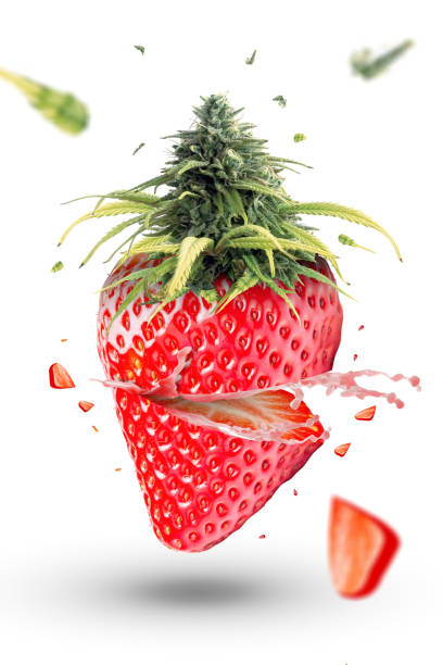 Strawberry fruit explosion with marijuana - foto stock