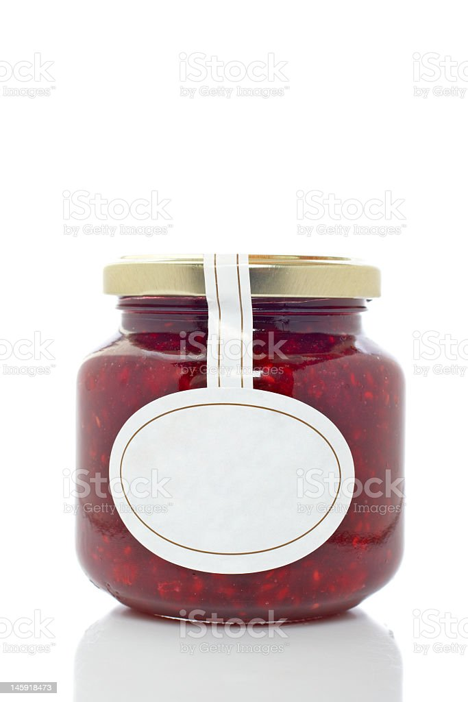 Strawberry glass jar isolated on white background stock photo