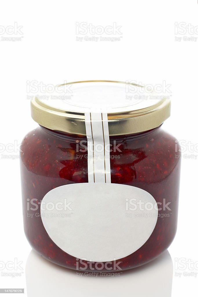 Strawberry glass jar stock photo
