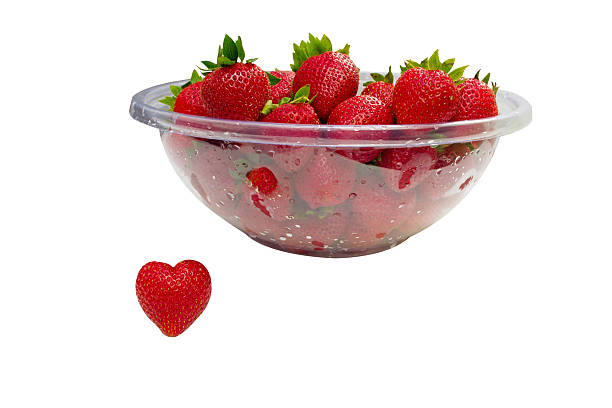 Strawberry Heart and Bowl of Strawberries stock photo