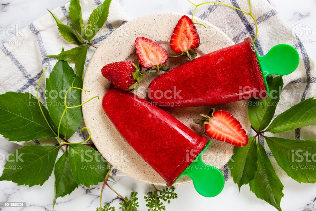 Strawberry homemade ice cream, sorbet royalty-free stock photo
