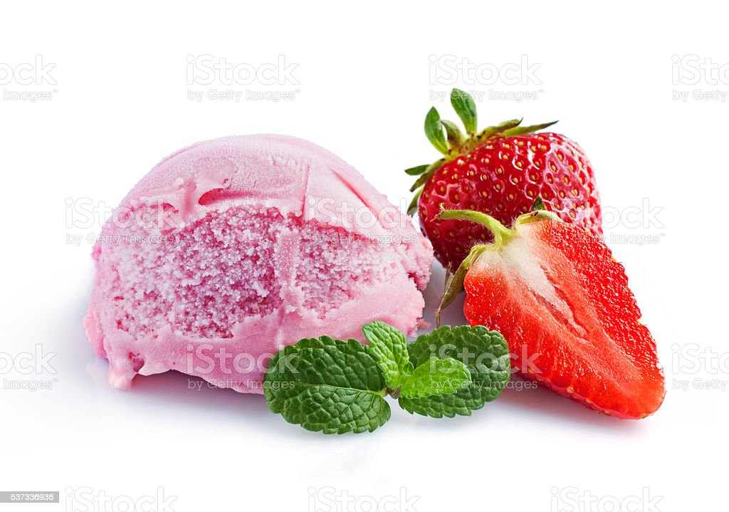 Strawberry ice cream and fresh strawberries stock photo