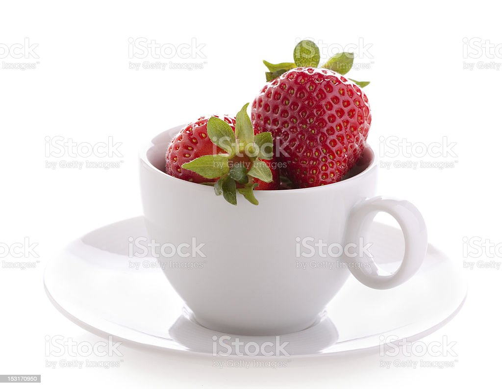 Strawberry in a cup stock photo