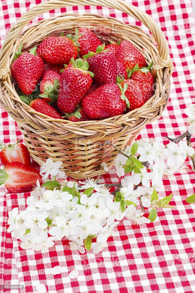 strawberry in basket and spring  flowers stock photo