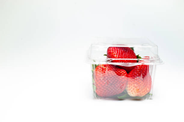 Strawberry in box Strawberry in box on white background fruit carton stock pictures, royalty-free photos & images
