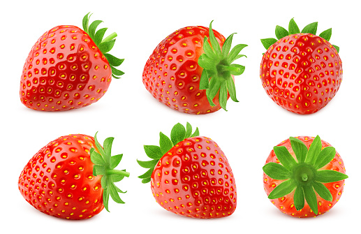 strawberry isolated on white background, clipping path, full depth of field, high quality photo