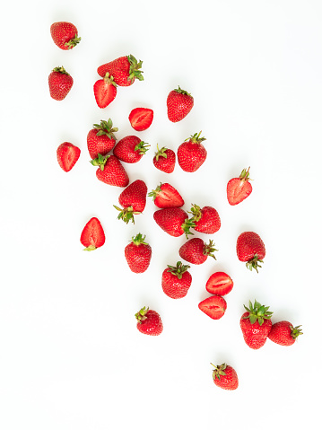 Strawberry isolated on white background. Flat lay. Top view.