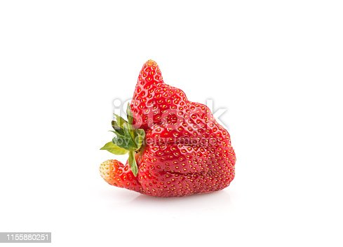 Ugly organic home grown strawberry isolated on white background.Trendy ugly food.Strange funny imperfect fruit .Misshapen produce, food waste concept. Top view, copy space.