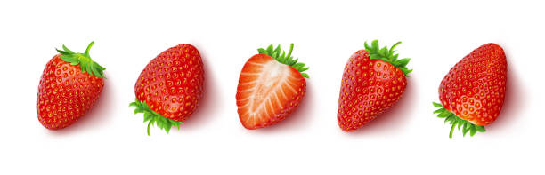 strawberry isolated on white background with clipping path, top view - strawberry imagens e fotografias de stock