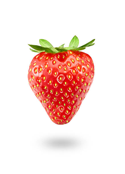 strawberry isolated on white - aardbei stockfoto's en -beelden
