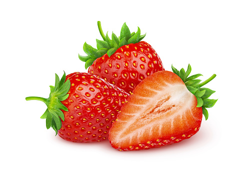 Strawberry isolated. Two and a half strawberries isolated on white background with clipping path