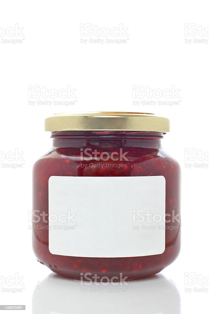 Strawberry jam glass jar stock photo