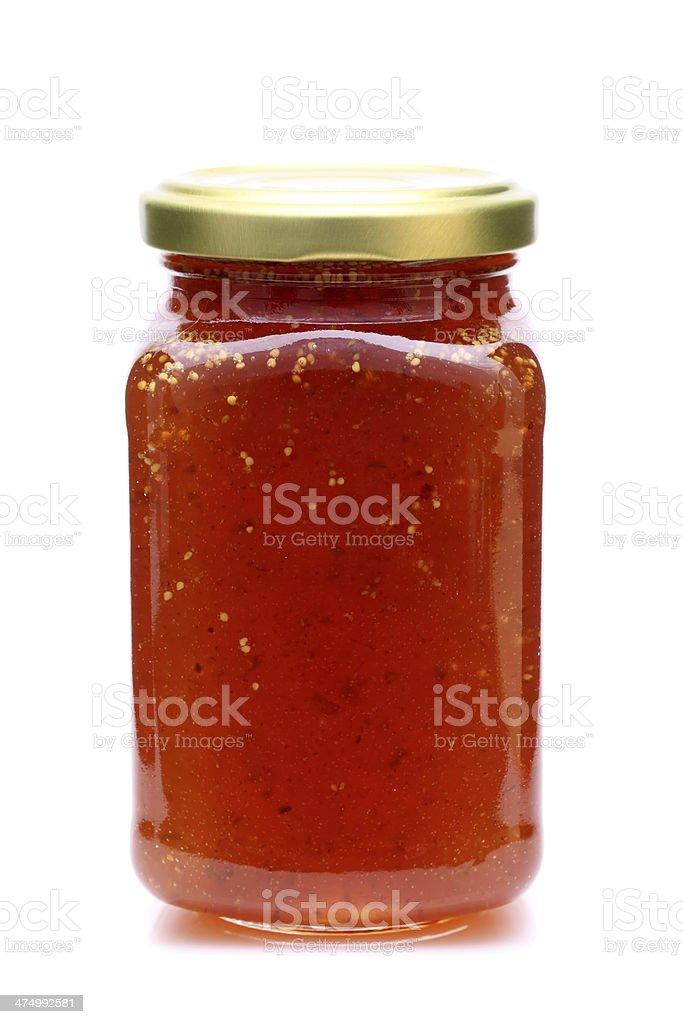strawberry jam in glass jar stock photo