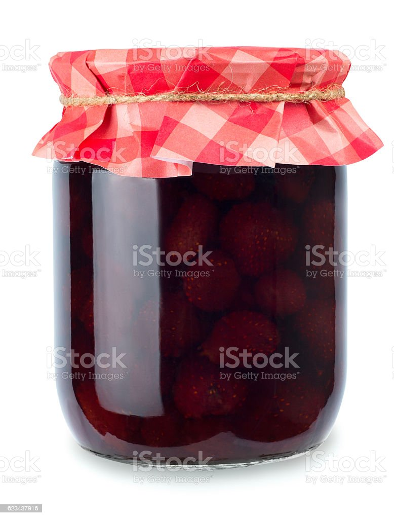 strawberry jam in jar isolated on white stock photo