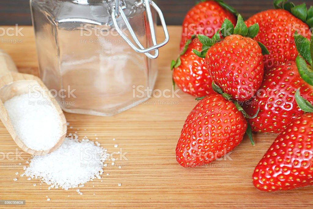 Strawberry jam ingredients royalty-free stock photo