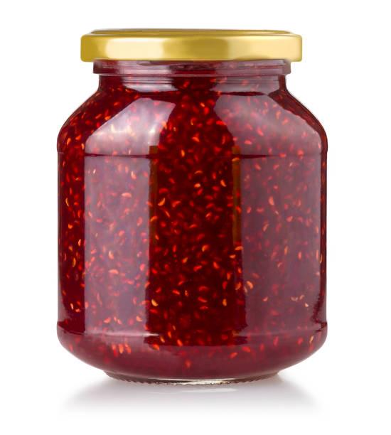 strawberry jam jar isolated - jam jar imagens e fotografias de stock