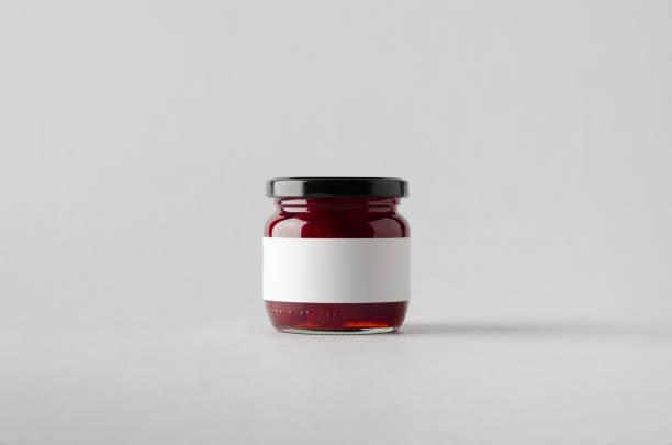 strawberry jam jar mock-up - blank label - jam jar imagens e fotografias de stock