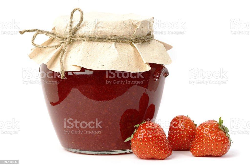 Strawberry jam jar royalty-free stock photo