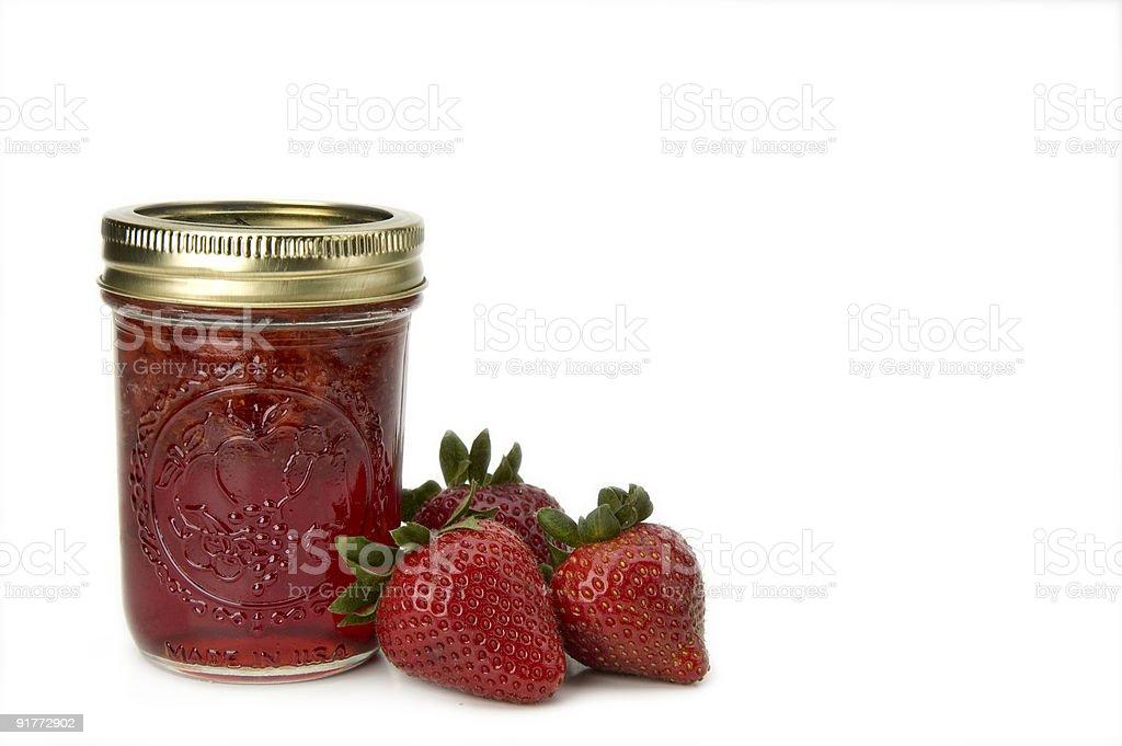 Strawberry jam with fresh strawberries royalty-free stock photo