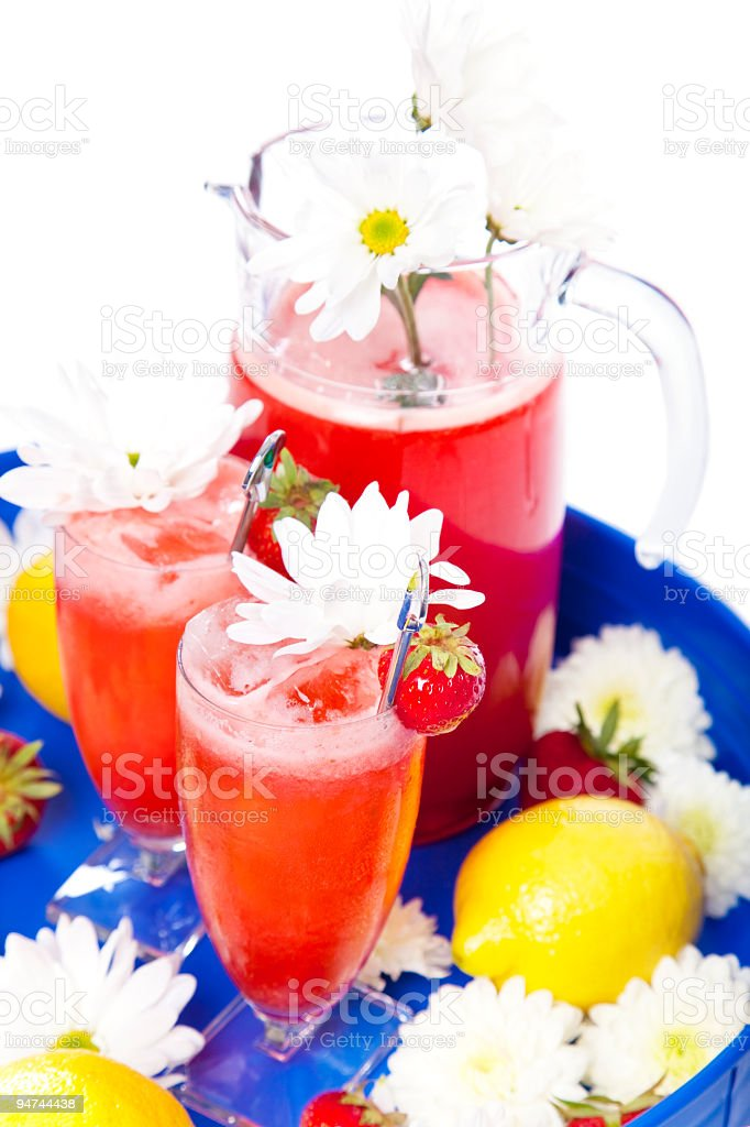 Strawberry Lemonade on White from High Angle royalty-free stock photo