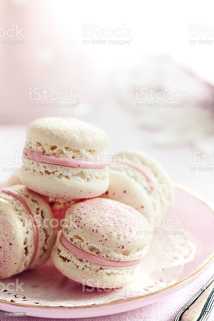 Strawberry macarons royalty-free stock photo