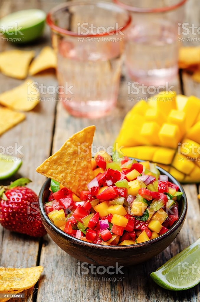 strawberry mango pepper salsa stock photo