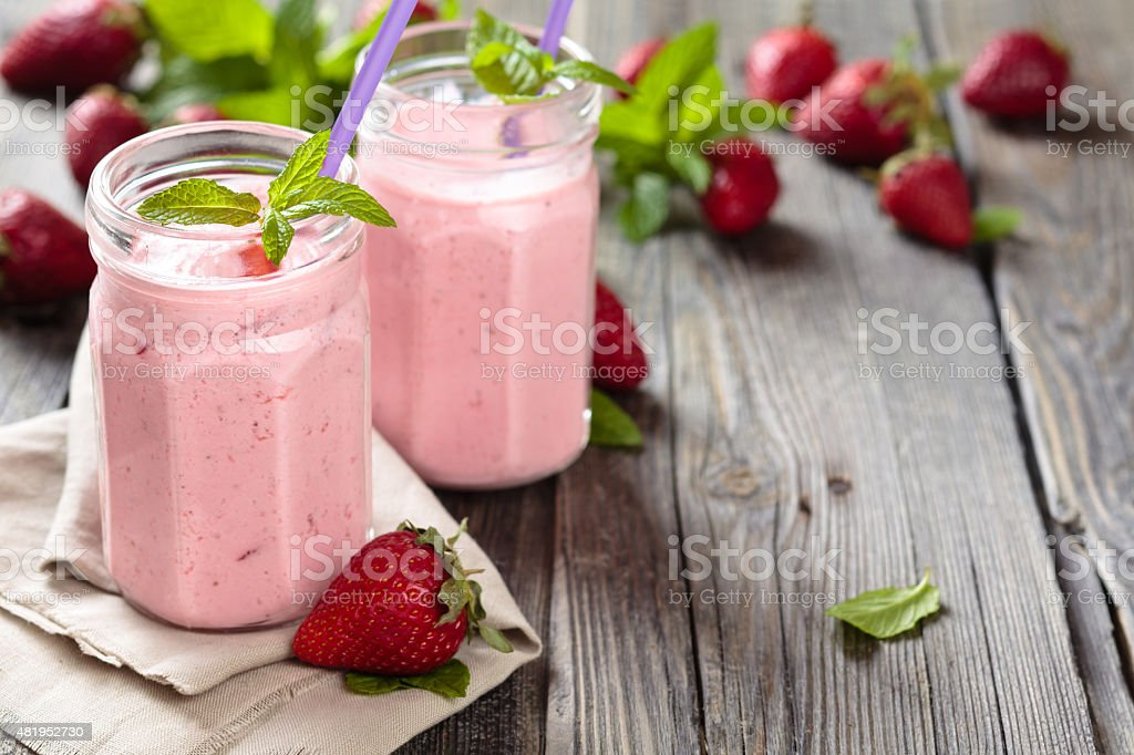 Strawberry milkshake. stock photo