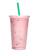 istock Strawberry milkshake with sauce in take away cup 680918098