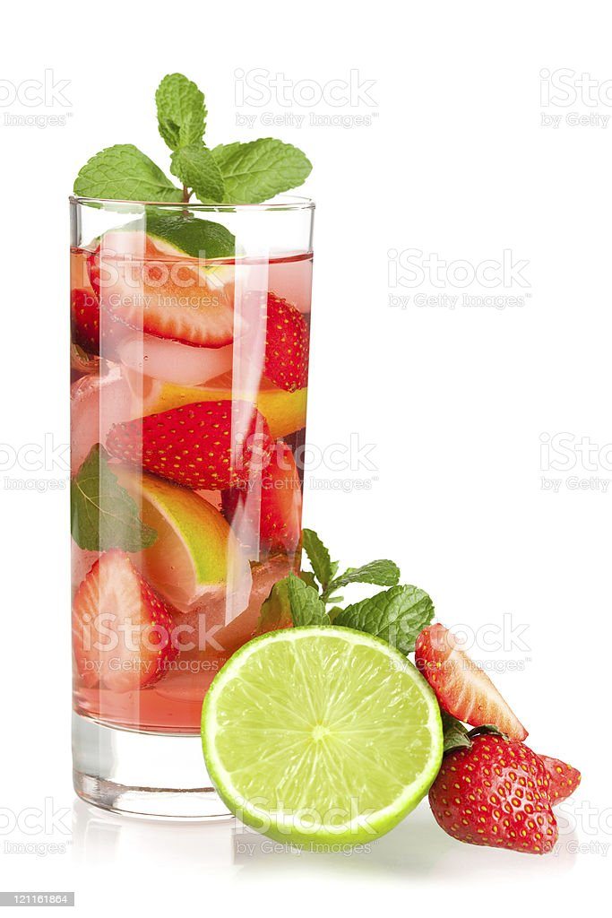Strawberry mojito with lime and mint royalty-free stock photo