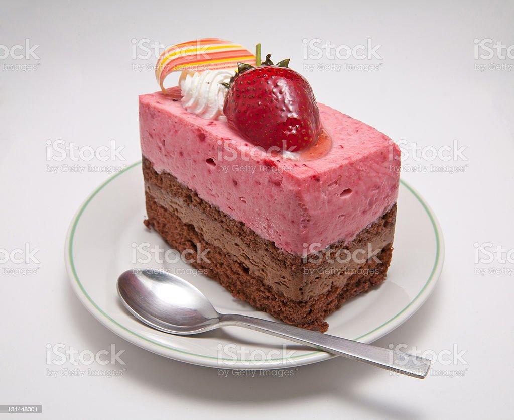 Strawberry mousse cake royalty-free stock photo