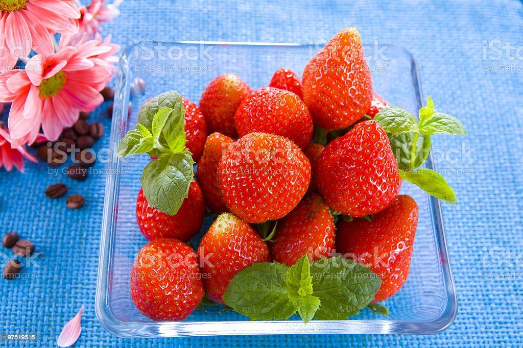 strawberry on blue royalty-free stock photo