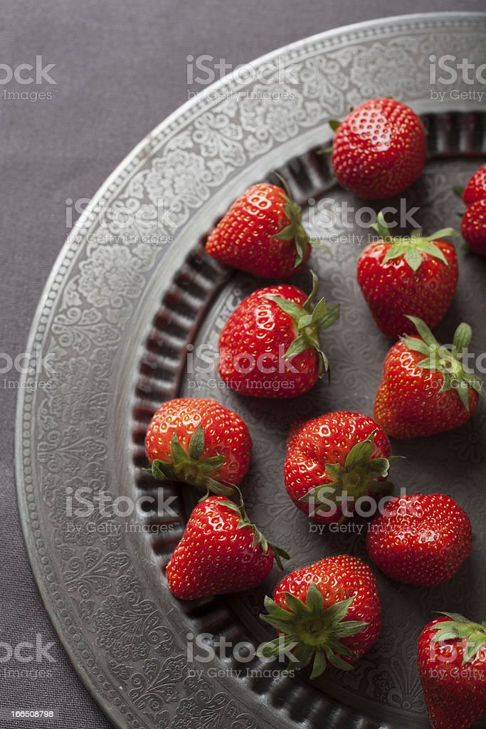 strawberry on vintage plate royalty-free stock photo