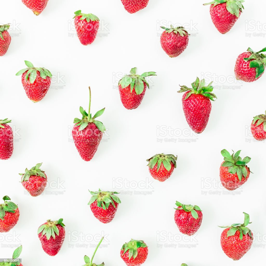 Strawberry on white background. Flat lay. Top view. Summer berries stock photo