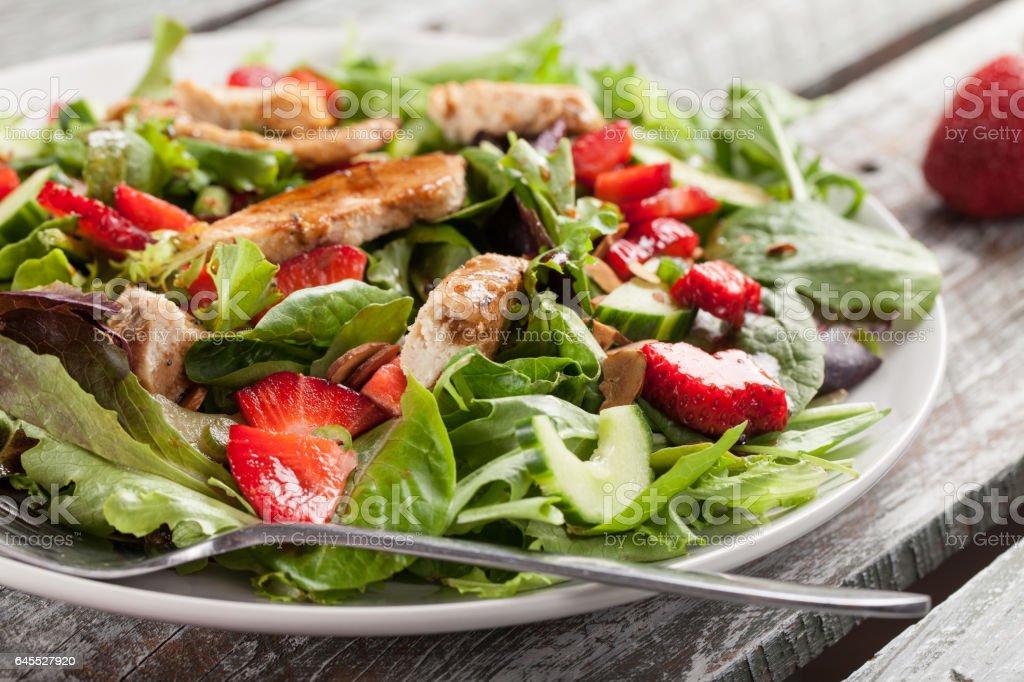 Strawberry Orange Honey Balsamic Salad horizontal shot stock photo