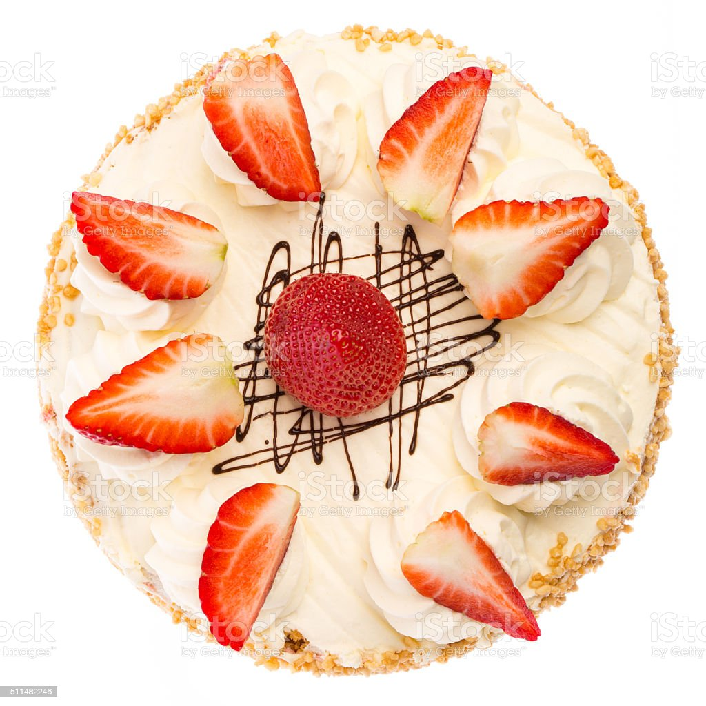Strawberry pie from above stock photo
