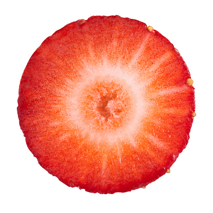 Strawberry circle portion on white background. Clipping path included.Strawberry pictures: