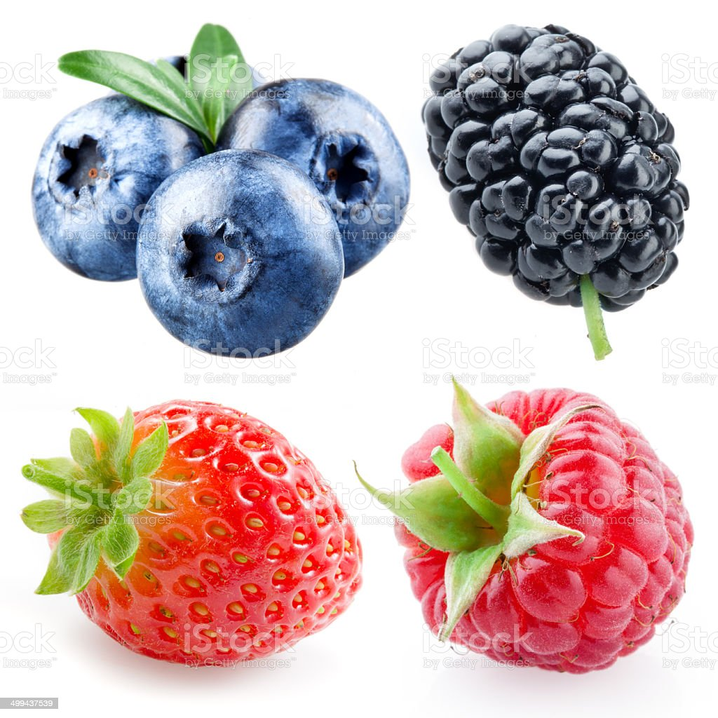 Strawberry, raspberry, blueberry, mulberry isolated on white stock photo