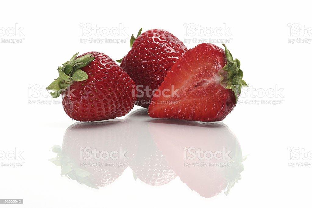 strawberry reflections stock photo