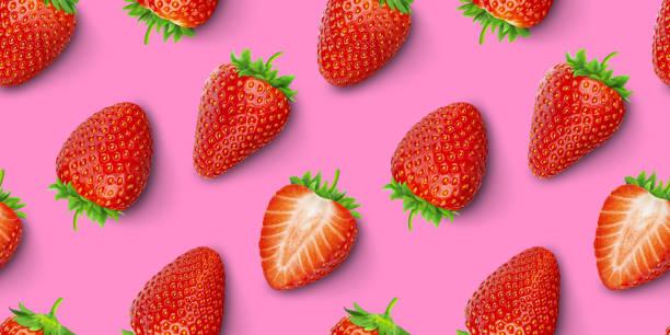 Strawberry seamless pattern, top view, flat lay stock photo
