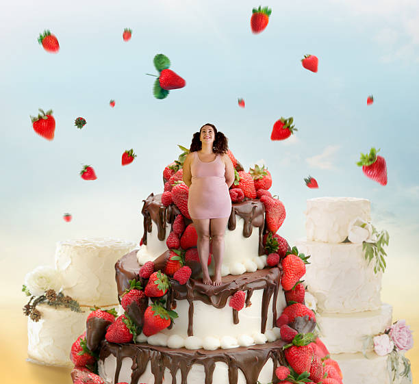 strawberry sensation - big cake stock photos and pictures