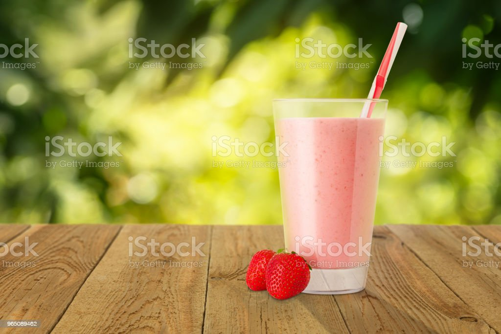 strawberry smoothie in glass royalty-free stock photo
