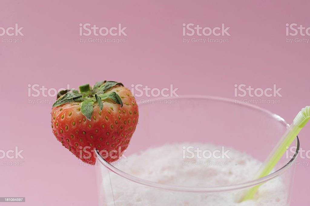 Strawberry Smoothie on Pink royalty-free stock photo