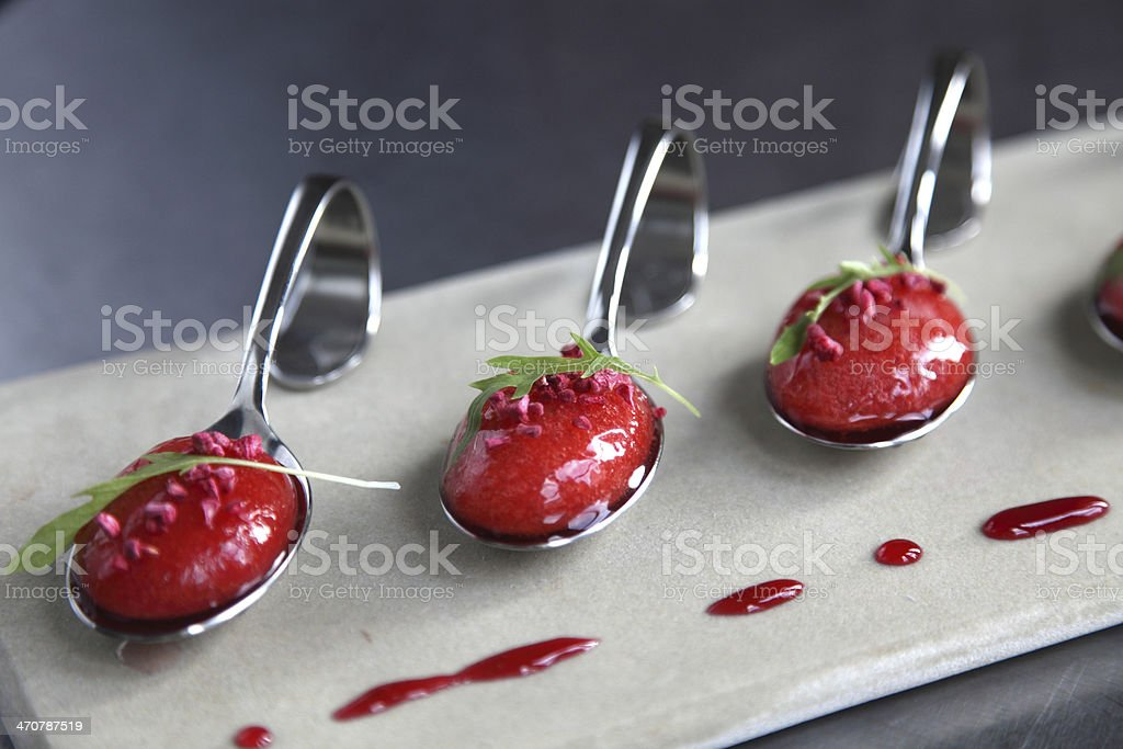 Strawberry soup spoons royalty-free stock photo