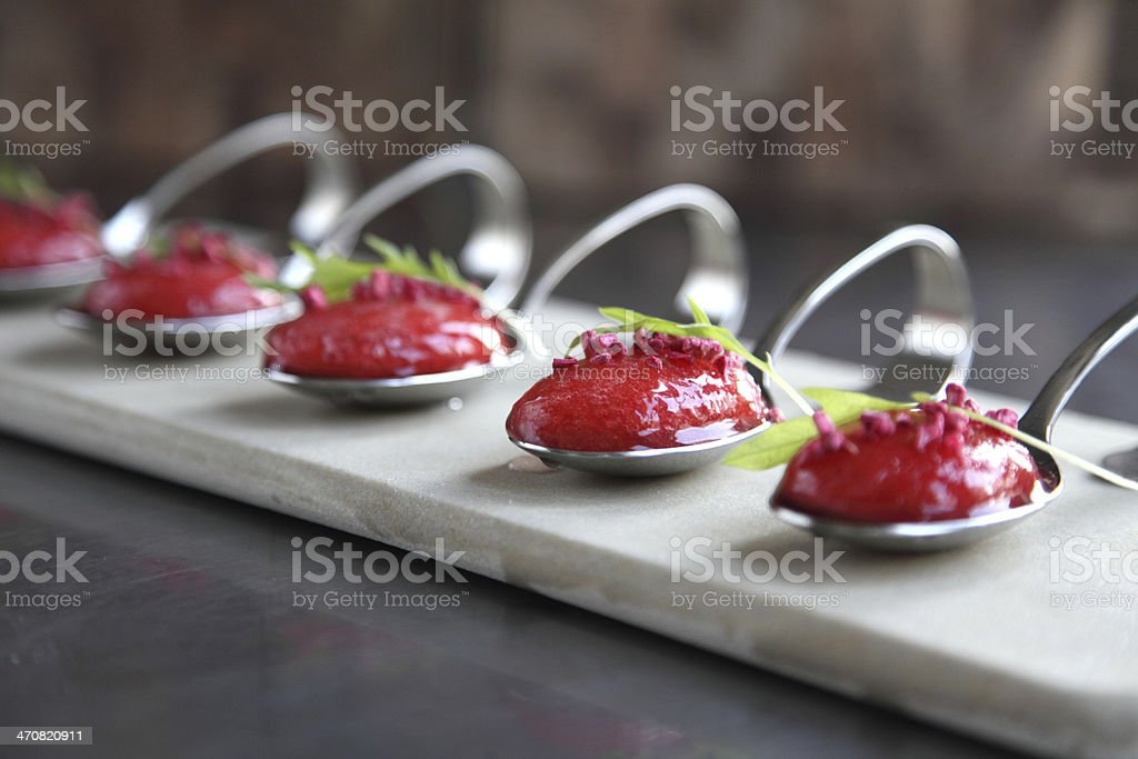 Strawberry soup spoons stock photo